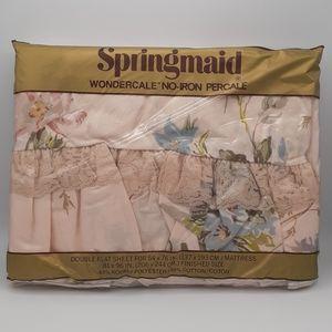"""SPRINGMAID """"CASTLEWOOD"""" VINTAGE FULL FLAT NWT"""